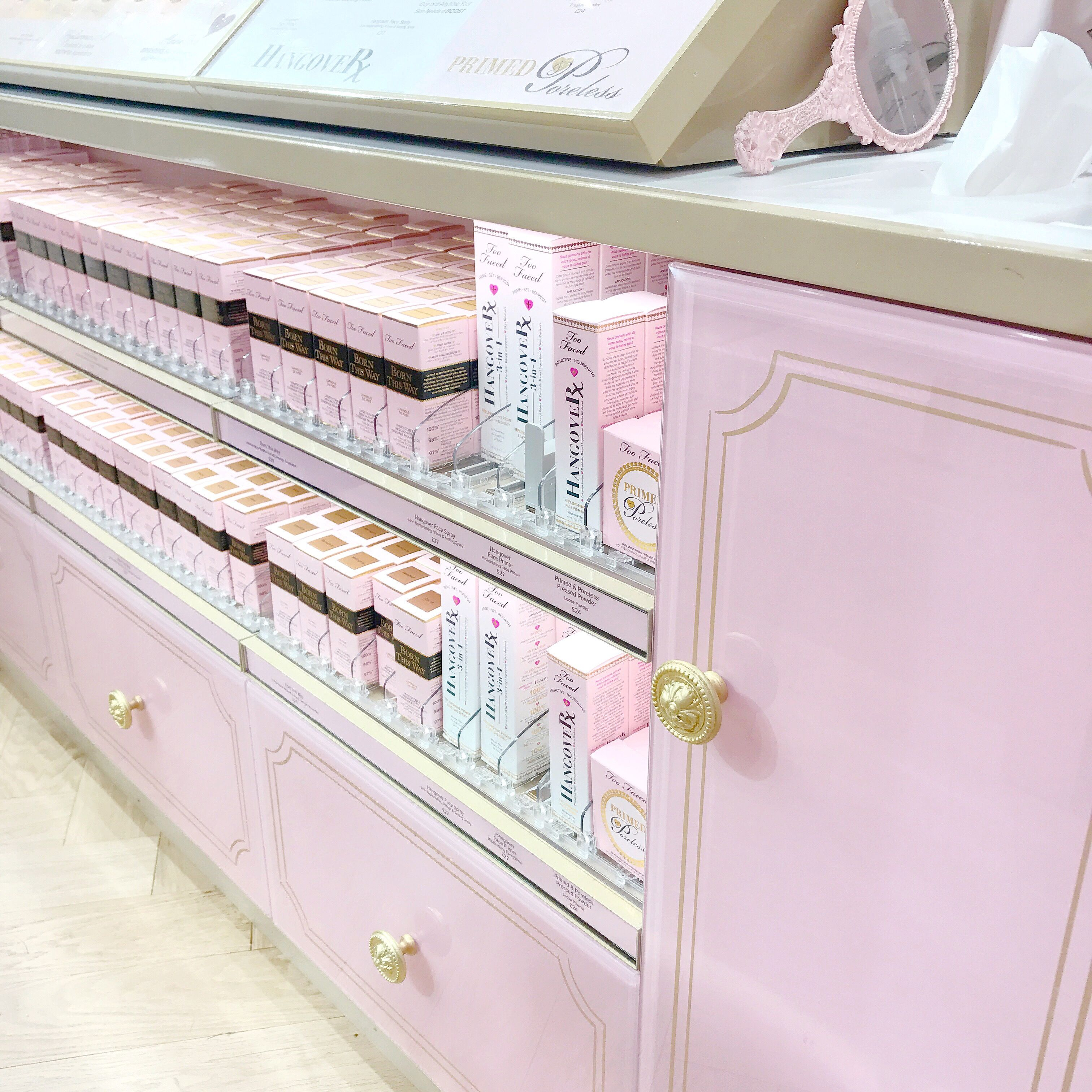 The Too Faced Carnaby Boudoir Store, Pink Makeup Counter | Love Catherine