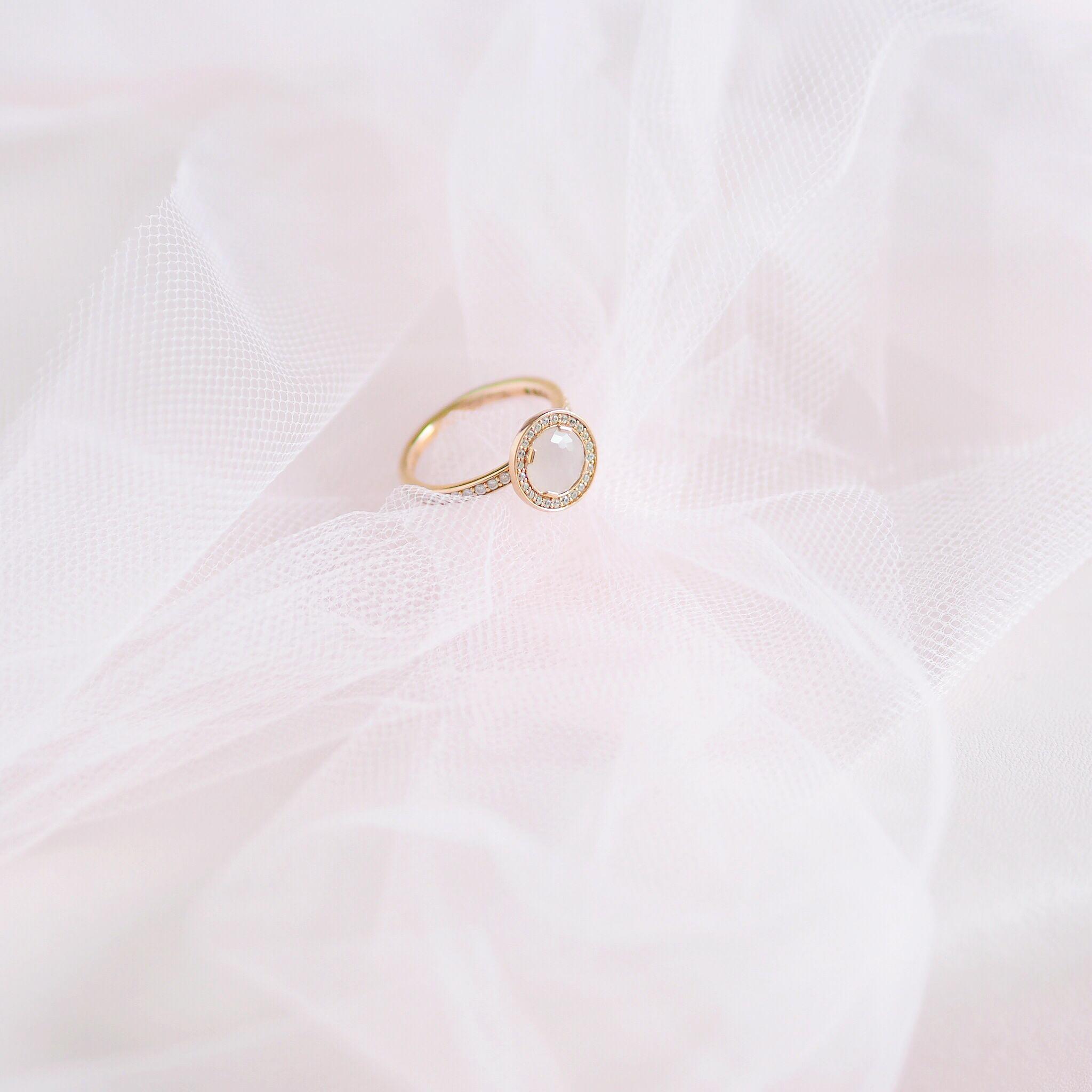 Inside My Jewellery Box: My Favourite Dainty Pieces, Thomas Sabo Rose Quartz Halo Ring   Love Catherine