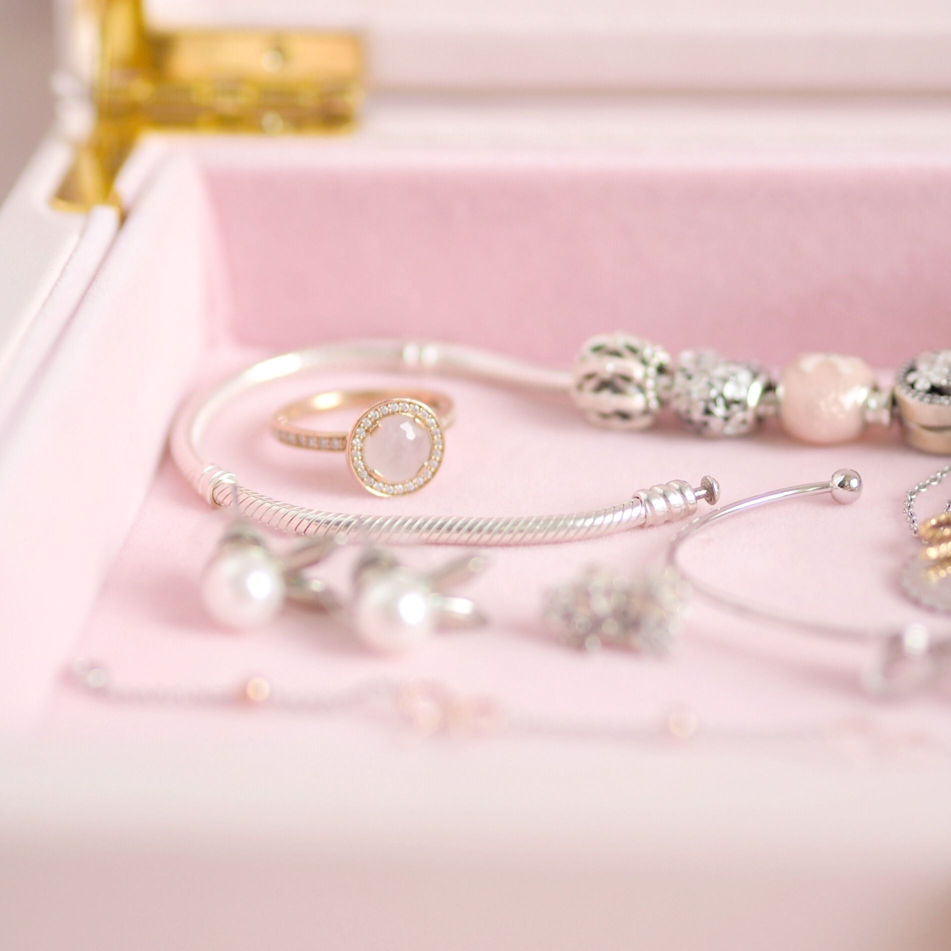 Inside My Jewellery Box: My Favourite Dainty Pieces, Thomas Sabo Rose Quartz Halo Ring | Love Catherine