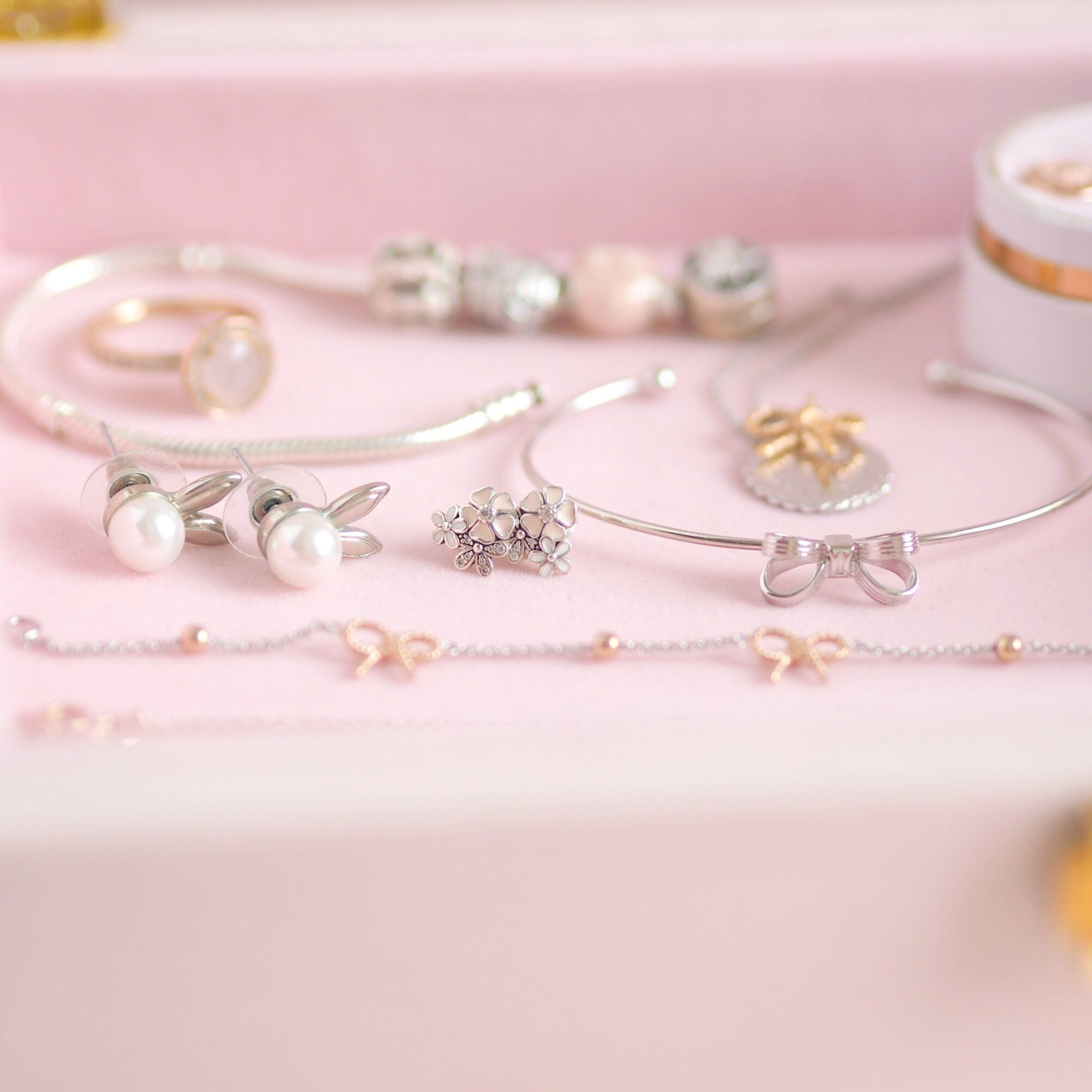 Inside My Jewellery Box: My Favourite Dainty Pieces, Pandora Poetic Blooms Earrings, Ted Baker Silver Bow Cuff | Love Catherine