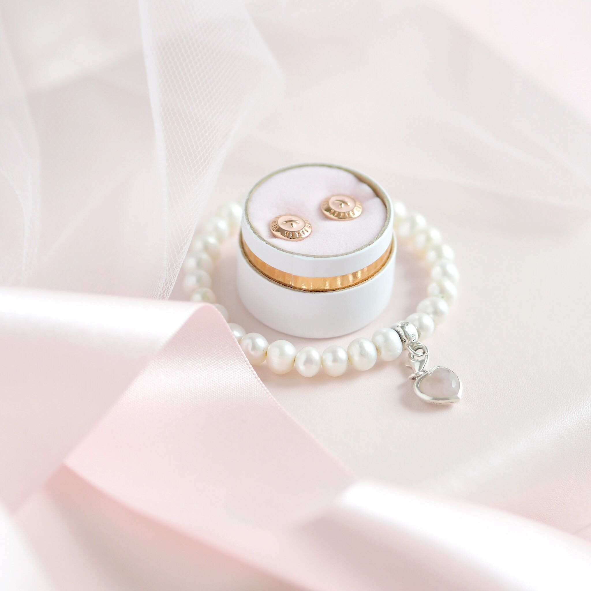 Inside My Jewellery Box: My Favourite Dainty Pieces, Ted Baker Button Earrings, Thomas Sabo Pearl Bracelet | Love Catherine