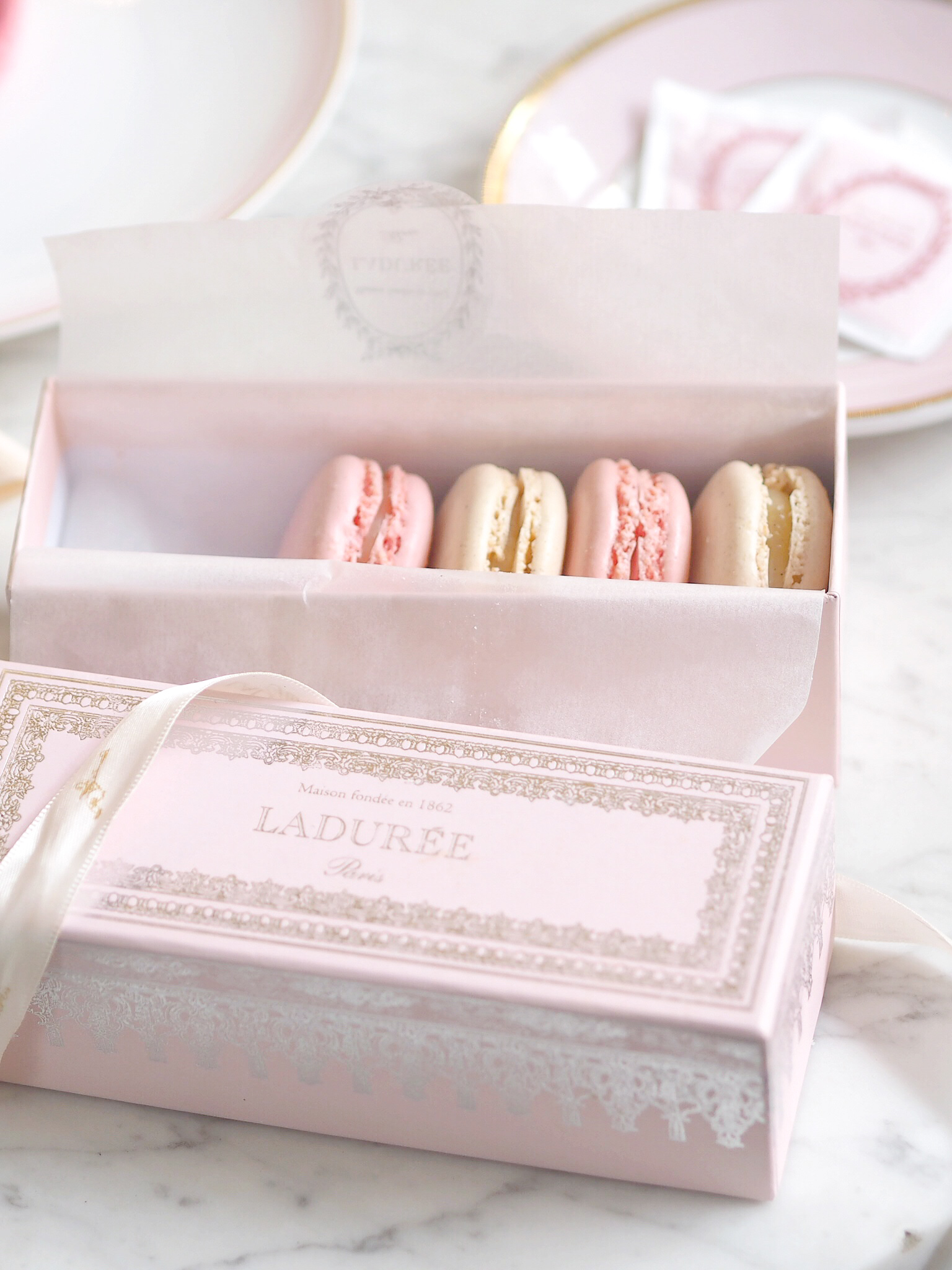 An Afternoon In Mayfair: Opulent Pink Treats In A Ladurée Dreamland, Geranium & Vanilla Macarons | Love Catherine