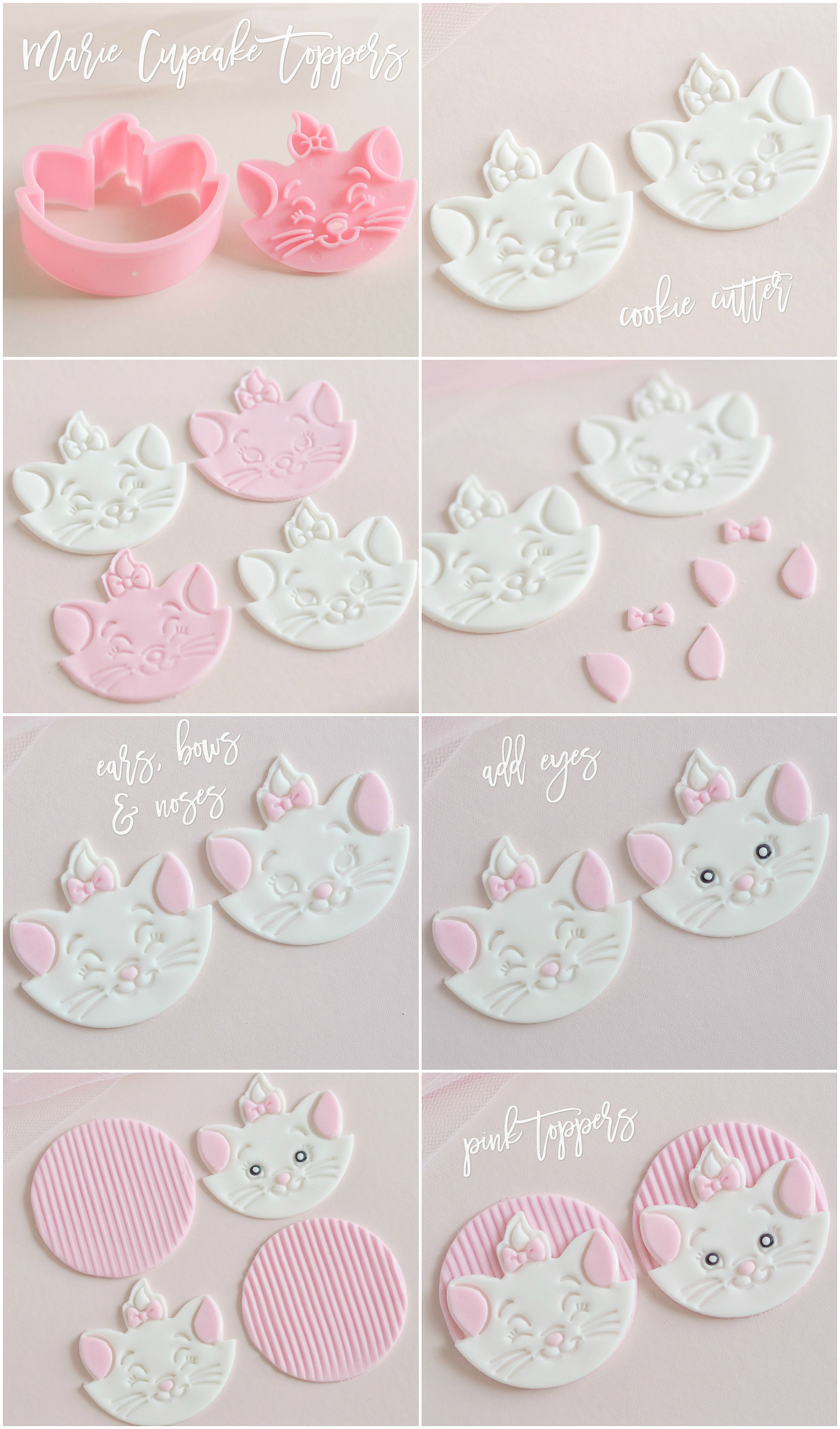 How To: Darling Disney Marie Cupcakes, Fondant Toppers Tutorial | Love Catherine