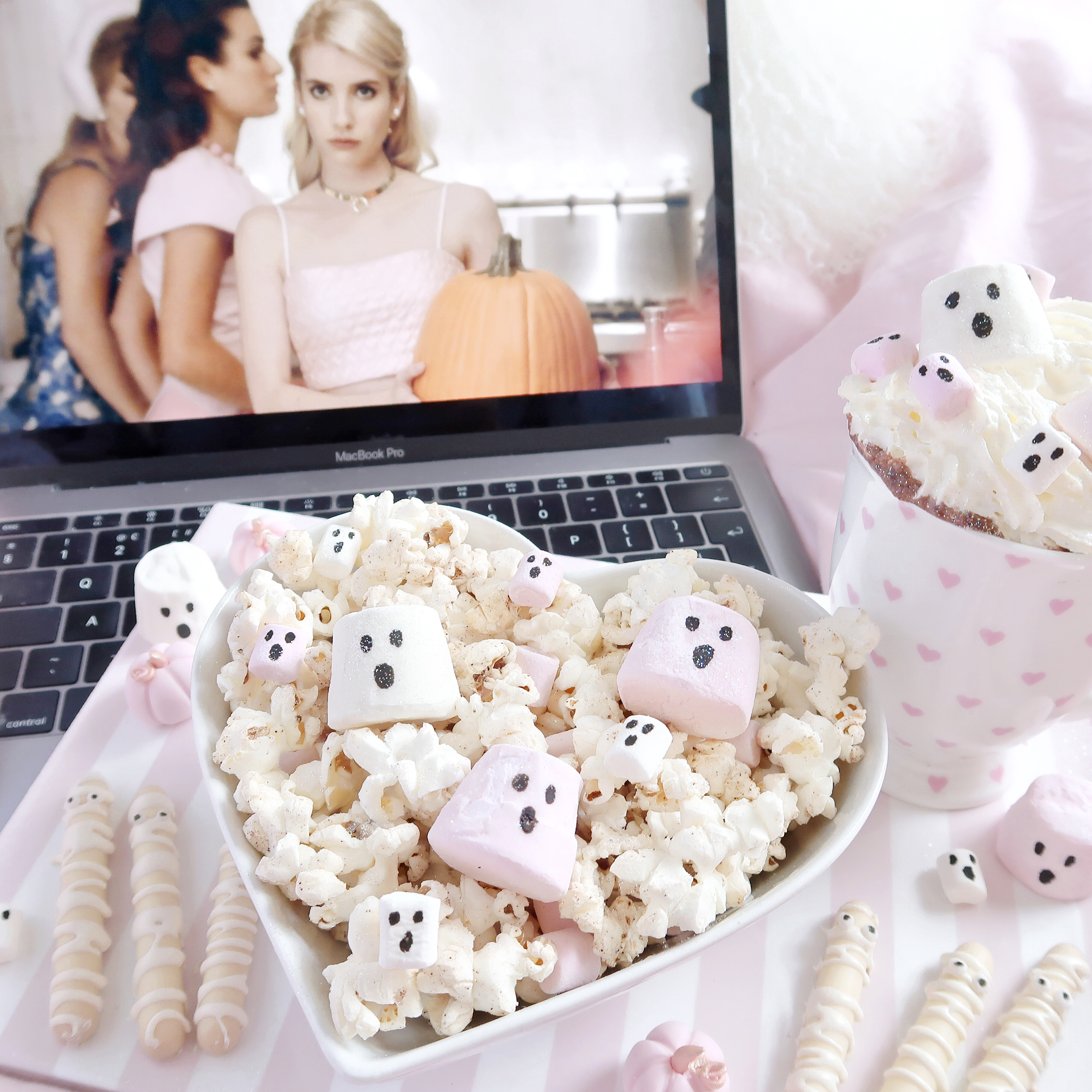 A Girly Halloween Movie Night With 3 Easy Treats | Scream Queens, Chanel-O-Ween