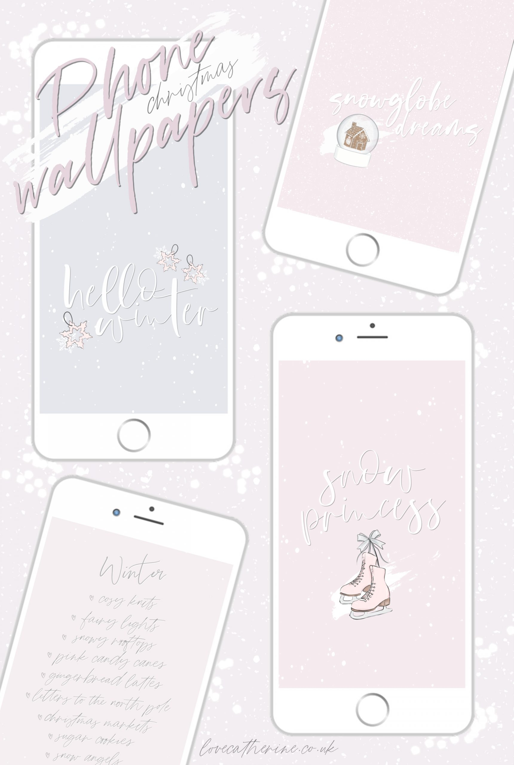 Free Cute & Girly Winter Phone Wallpapers For Christmas