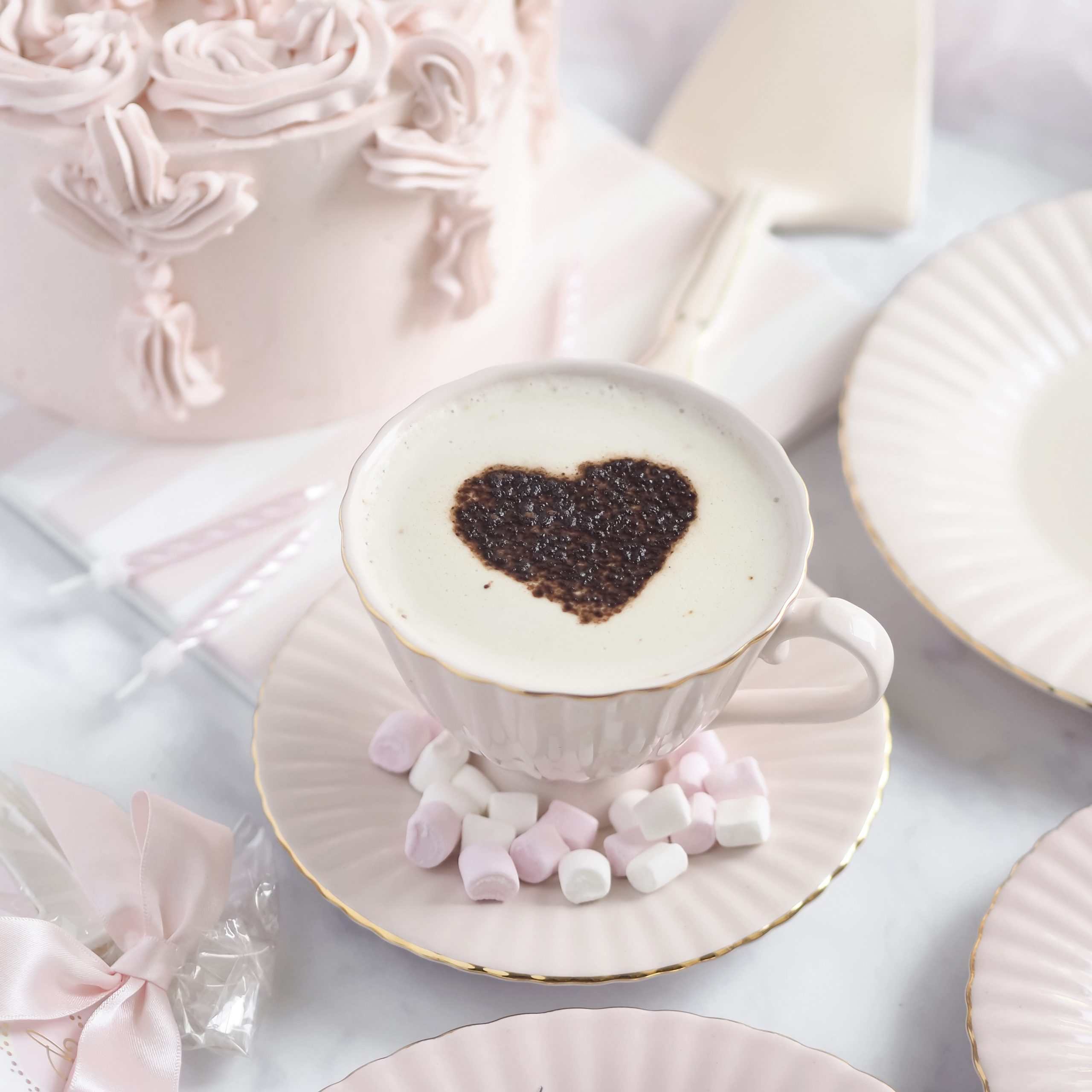 How To Make A Peggy Porschen At Home: Heart Shaped Coffee Stencil