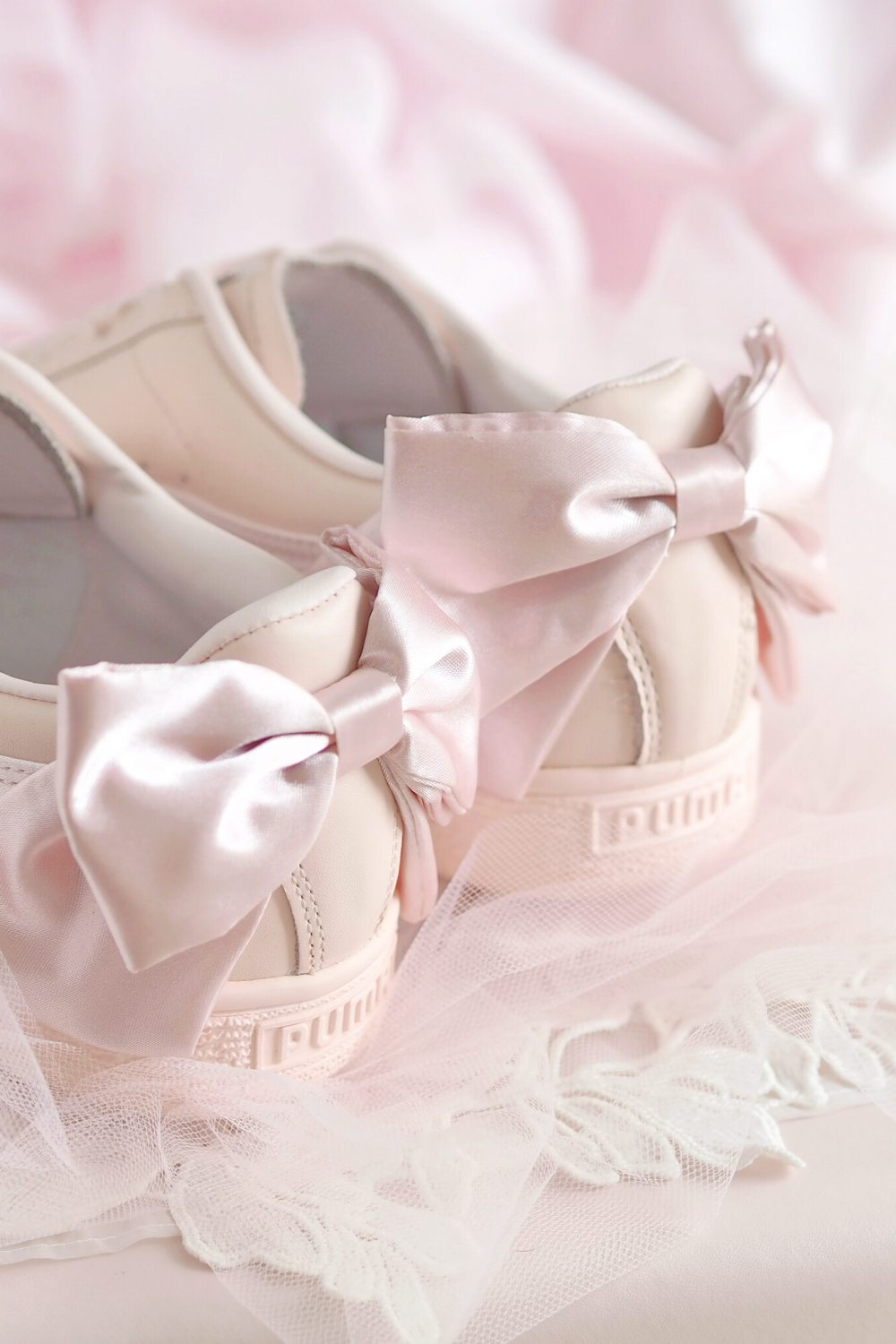 The Prettiest Pink Satin Bow Adorned Trainers